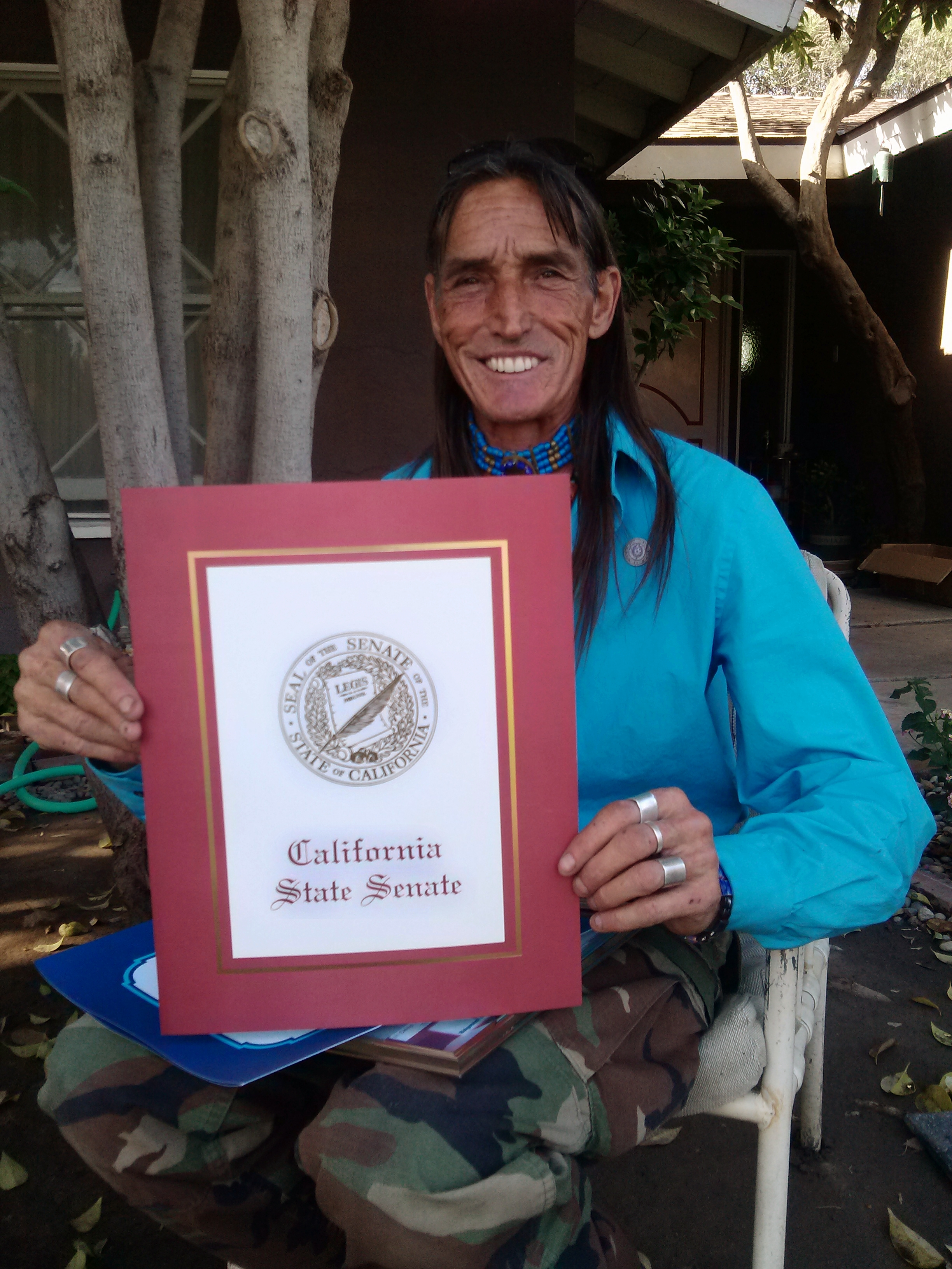 Richard Lonewolf with California State Senate Award