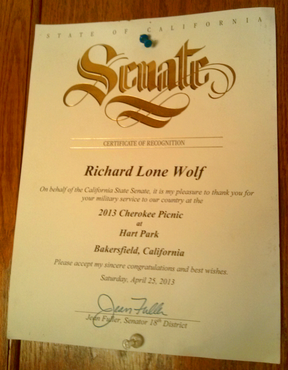 Senate honors lonewolf closeup